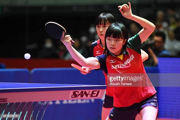 Airi Abe and Mizuki Morizono of Japan competes in the Women's doubles final match against Sayaka Hirano and Kasumi Ishikawa of Japan during day six...