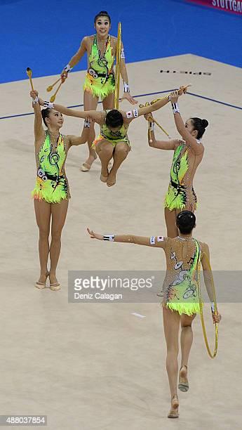 Airi Hatakeyama Mao Kunii Rie Matsubara Sayuri Sugimoto and Kiko Yokota of Japan compete in the Group Apparatus Clubs and Hoop Final during day 7 of...