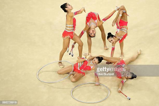 Airi Hatakeyama Rie Matsubara Sakura Noshitani Sayuri Sugimoto and Kiko Yokota of Japan compete during the Group AllAround Final on Day 16 of the Rio...