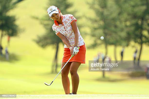 Airi Saito of Japan chips onto the 8th green during the final round of the Miyagi TV Cup Dunlop Ladies Open 2015 at the Rifu Golf Club on September...