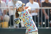 Airi Saito of Japan hits her tee shot on the 1st hole during the final round of the Munsingwear Ladies Tokai Classic at the Shin Minami Aichi Country...