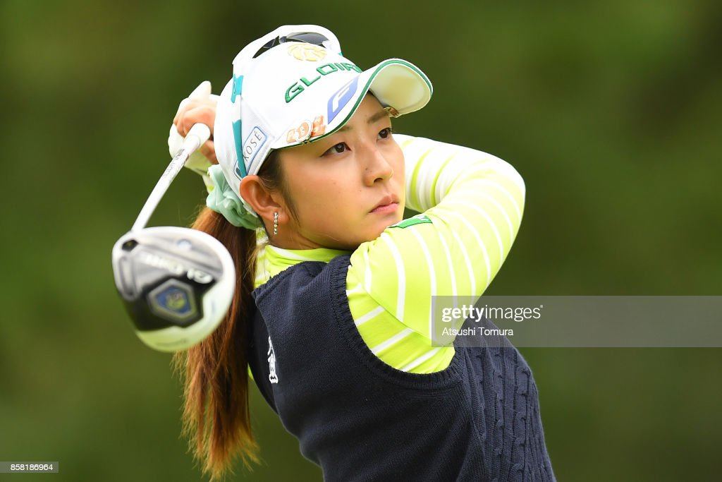 Airi Saito of Japan hits her tee shot on the 1st hole during the first round of Stanley Ladies Golf Tournament at the Tomei Country Club on October 6, 2017 in Susono, Shizuoka, Japan.