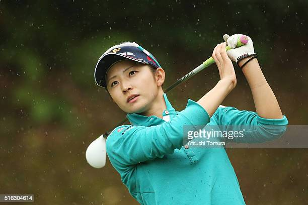 Airi Saito of Japan hits her tee shot on the 3rd hole during the first round of the TPoint Ladies Golf Tournament at the Wakagi Golf Club on March 18...