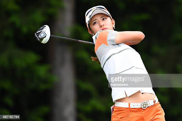 Airi Saito of Japan hits her tee shot on the 8th hole during the second round of Stanley Ladies Golf Tournament at the Tomei Country Club on October...