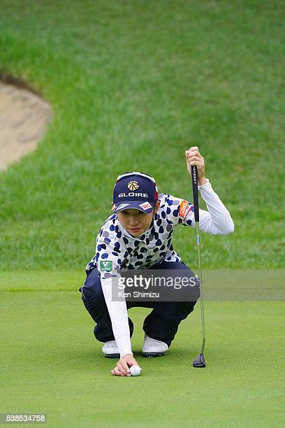 Airi Saito of Japan putts on the 18th hole during the training day of the Suntory Ladies Open at the Rokko Kokusai Golf Club on June 7 2016 in Kobe...