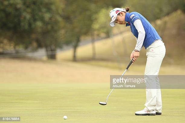 Airi Saito of Japan putts on the 8th green during the second round of the TPoint Ladies Golf Tournament at the Wakagi Golf Club on March 19 2016 in...