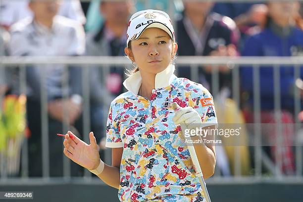 Airi Saito of Japan reacts during the final round of the Munsingwear Ladies Tokai Classic at the Shin Minami Aichi Country Club Mihama Course on...