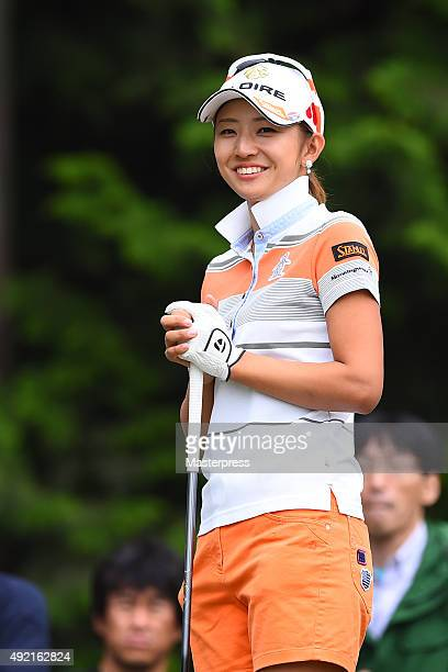 Airi Saito of Japan smiles during the second round of Stanley Ladies Golf Tournament at the Tomei Country Club on October 10 2015 in Susono Japan
