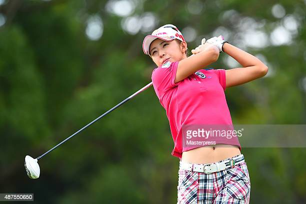 Airi Saitoh of Japan hits her tee shot on the 11th hole during the first round of the 48th LPGA Championship Konica Minolta Cup 2015 at the Passage...