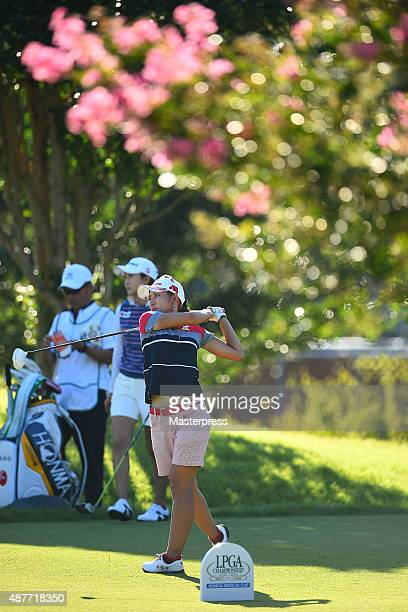 Airi Saitoh of Japan hits her tee shot on the 18th hole during the second round of the 48th LPGA Championship Konica Minolta Cup 2015 at the Passage...
