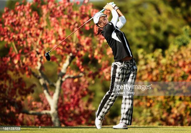 Airi Saitoh of Japan tees off from the 2nd hole during the first round of Mizuno Classic at Kintetsu Kashikojima Country Club on November 2 2012 in...