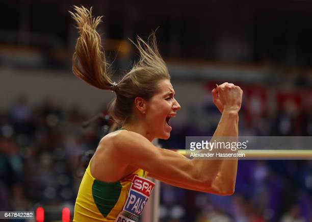 Airine Palsyte of Lithuania celebrates during the Women's High Jump final on day two of the 2017 European Athletics Indoor Championships at the...