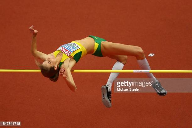 Airine Palsyte of Lithuania competes in the Women's High Jump final on day two of the 2017 European Athletics Indoor Championships at the Kombank...
