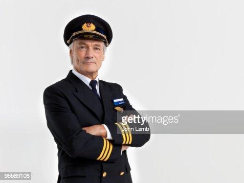 Airline pilot portrait : Stock Photo