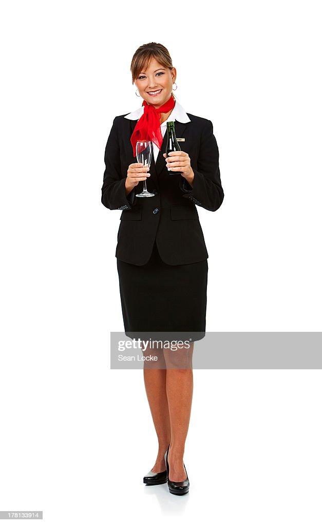 Airline: Stewardess Holding Wine Glass