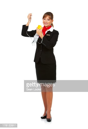 Airline: Stewardess with Oxygen Mask