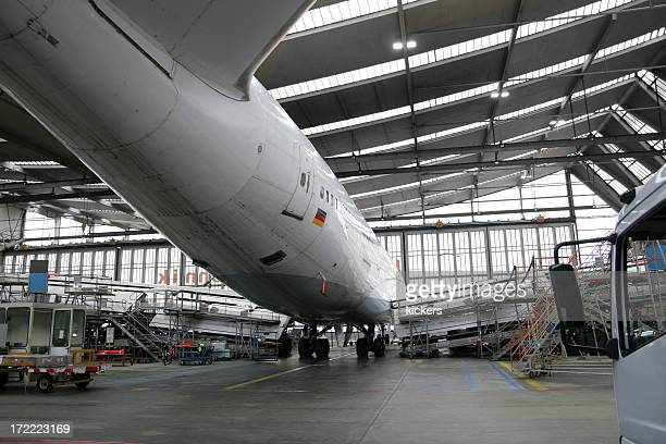 Airliner in hangar for maintenance