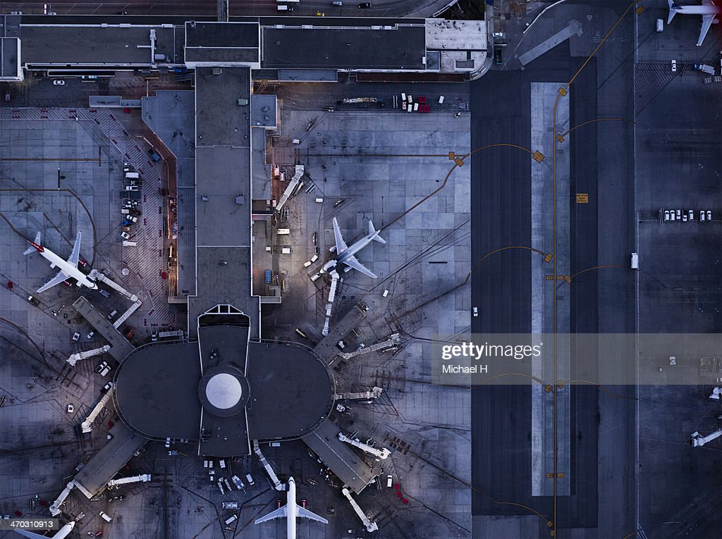 Airliners at  gates and Control Tower at LAX : Stock Photo