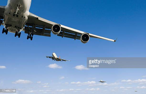 Airliners landing