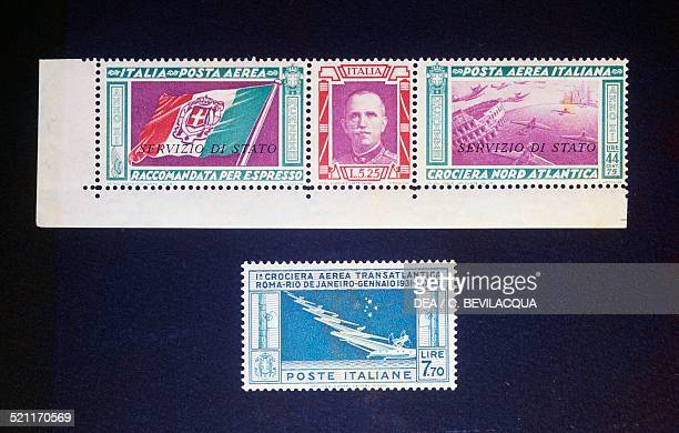 Airmail stamps issued to commemorate the transatlantic cruises 1931 Italy 20th century Italy