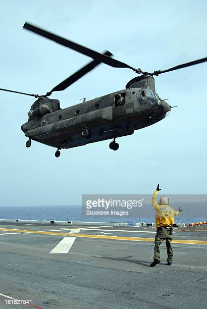 Airman directs an Army CH-47 Chinook helicopter on the flight deck.