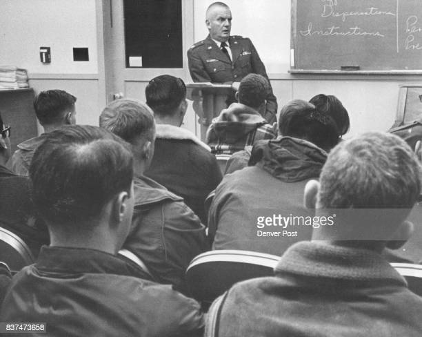 Airmen Attend Lowry marriage Clinic Addressing the group is Chaplain Edward L Eardley one of instructors Credit Denver Post
