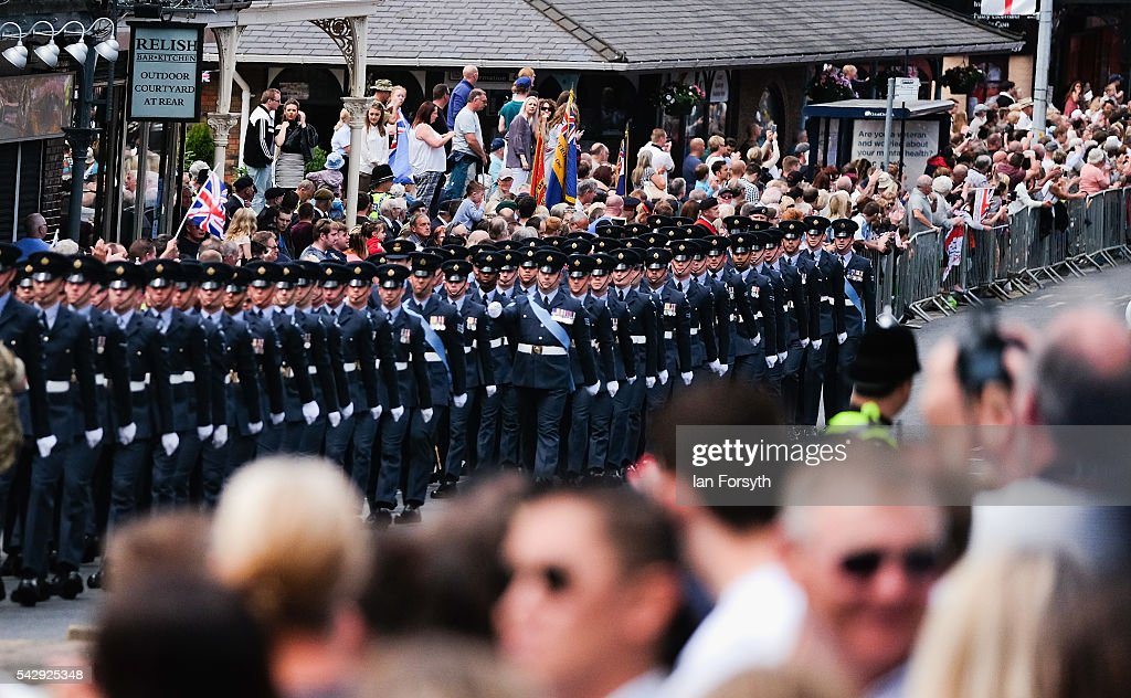 Airmen from the RAF march through the centre of town during the main military parade at the Armed Forces Day National Event on June 25, 2016 in Cleethorpes, England. The visit by the Prime Minister came the day after the country voted to leave the European Union. Armed Forces Day is an annual event that gives an opportunity for the country to show its support for the men and women in the British Armed Forces.