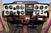 Airplane cockpit of old Cessna with flight instruments