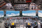 Airplane cockpit view. Aircraft interior