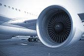 engine of passenger airplane waiting in airport