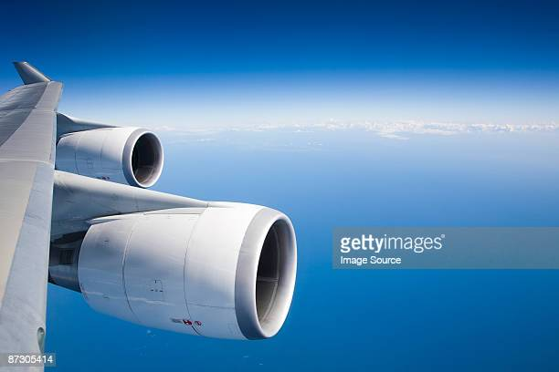 Airplane engines and blue sky