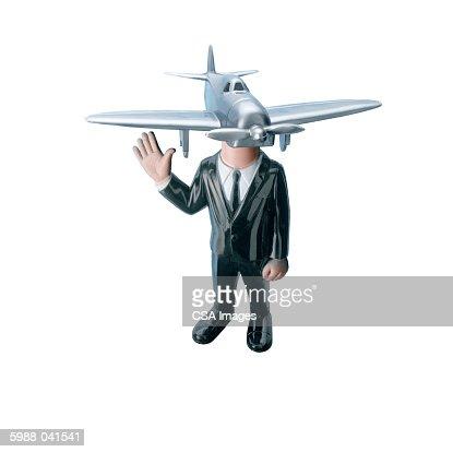 Airplane Head Businessman : Stock Photo
