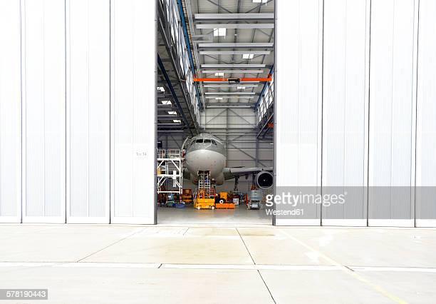 Airplane in a hangar