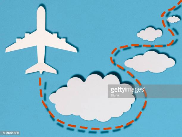 Airplane in clouds, paper cutting style