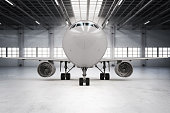 3d rendering airplane in hangar