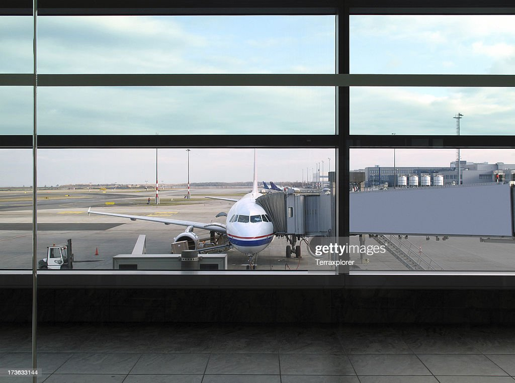 Airplane In Prague Airport : Stock Photo
