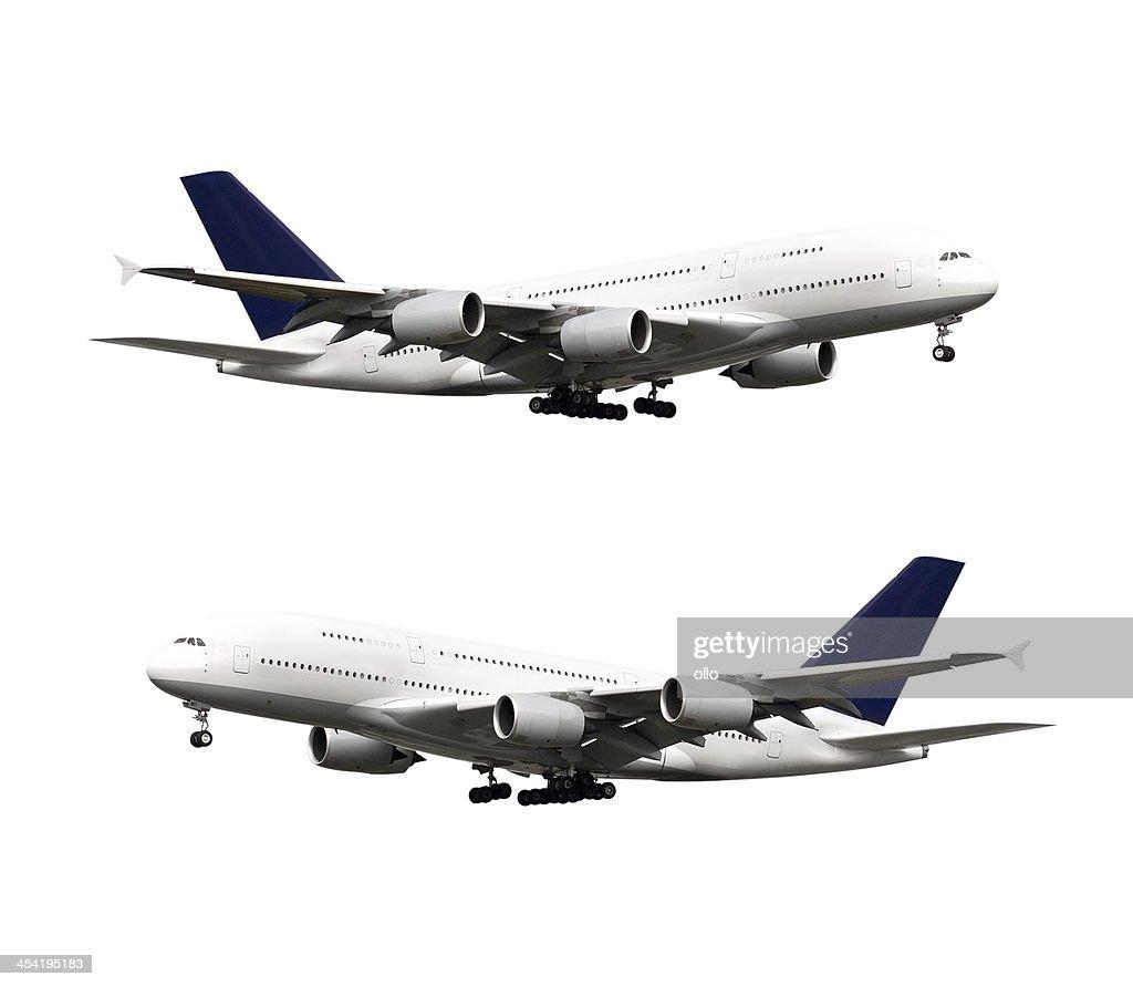 Avión, Aislado en blanco, con trazado de recorte : Foto de stock