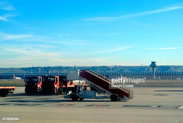 Airplane ladder at Madrid airport Adolfo Suárez Madrid-Barajas,