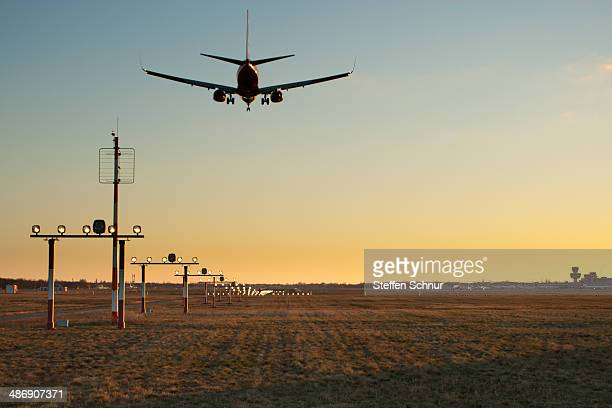 Airplane landing on a airport