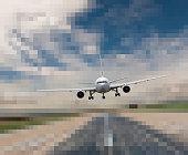 Airplane landing on pixelated runway