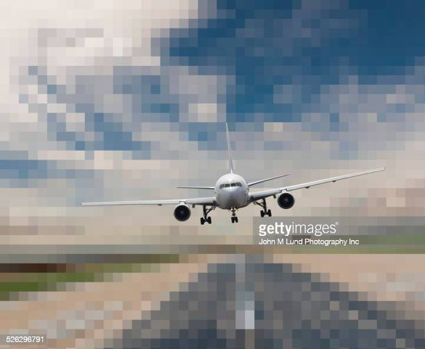 Airplane landing on pixelated runway