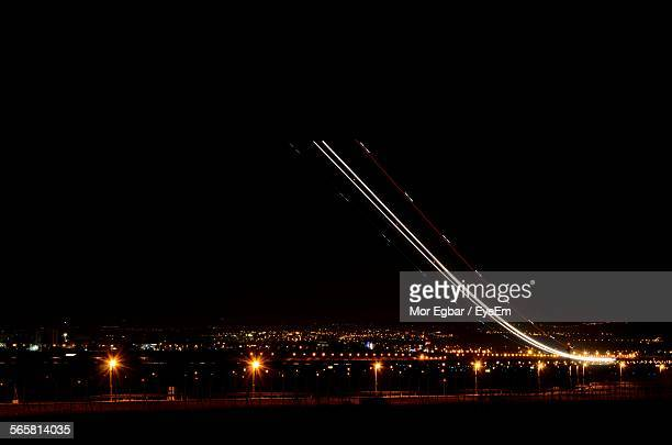 Airplane Light Trails At Night