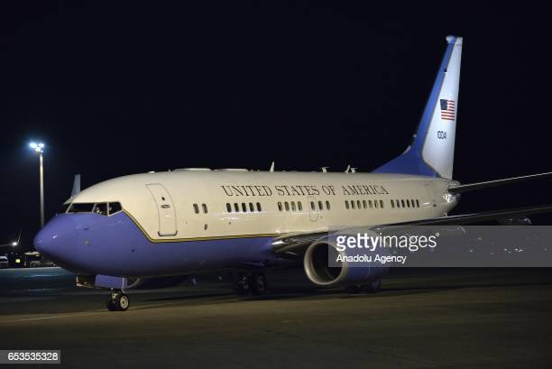 Airplane of New US Secretary of State Rex Tillerson arrives at Tokyo Haneda Airport Japan on March 15 2017 Tillerson is in Japan for twoday visit and...