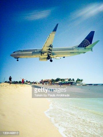 Airplane on Maho Beach