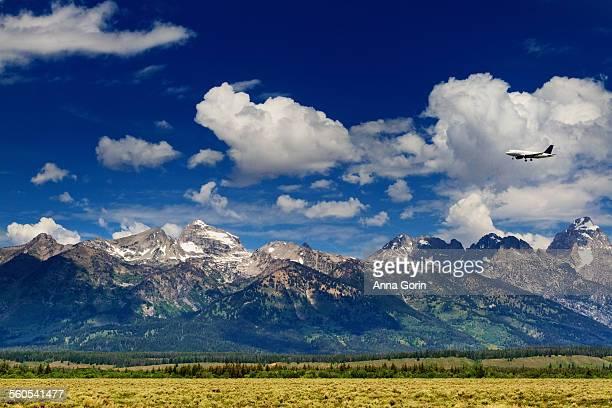 Airplane over Grand Teton mountains, summer