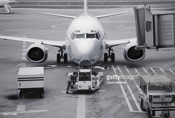 Airplane parked on runway