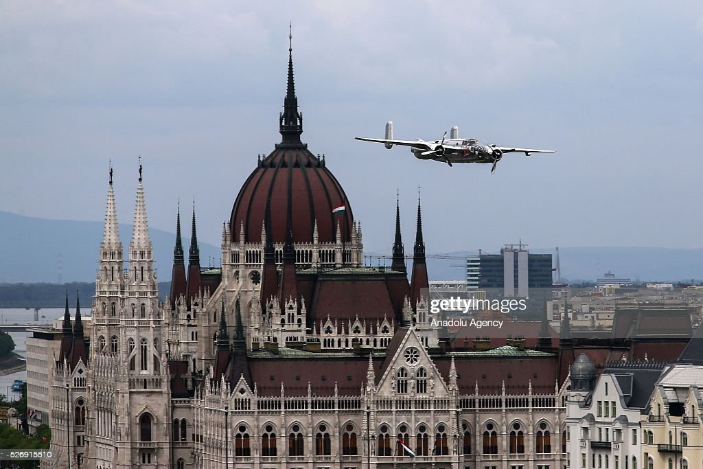 A B-25 airplane performs during an air show in Budapest, Hungary on May 1, 2016