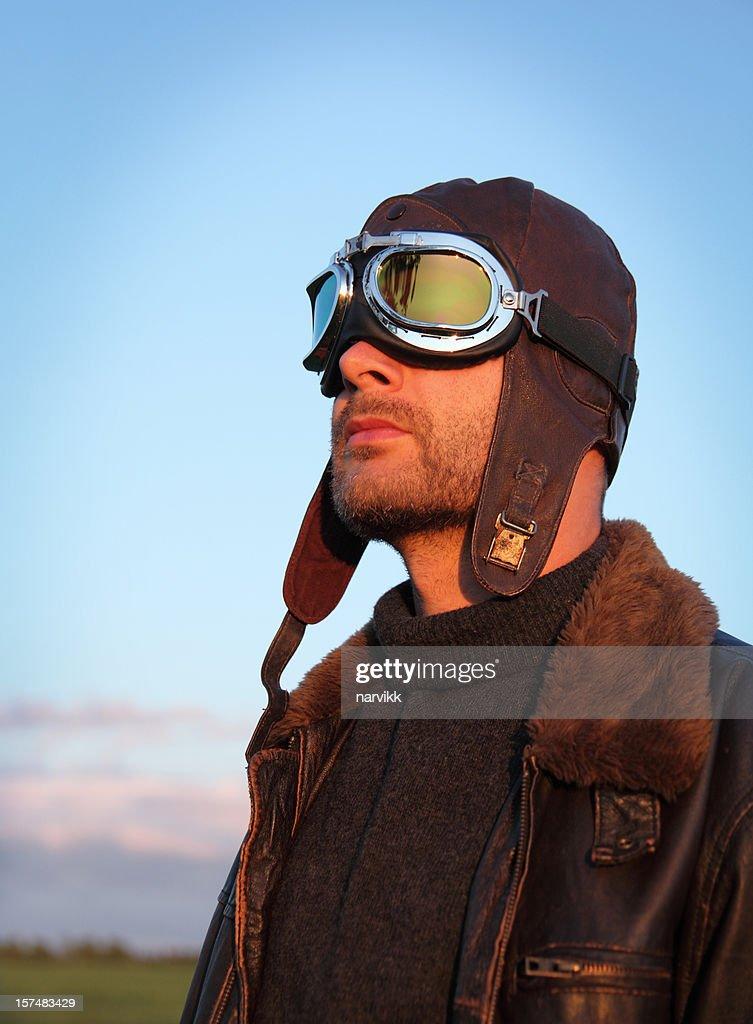 Airplane Pilot in Sunset Light