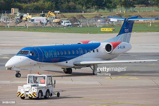 BMI airplane prepares for takeoff at Hannover Airport in Hannover Germany on Wednesday Sept 30 2009 British Airways Plc may complete a merger with...