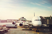 Airplane Preparing to Load on Tarmac